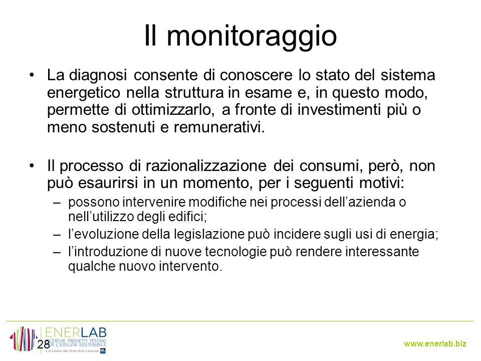 www.enerlab.biz Il monitoraggio 28 La diagnosi consente di conoscere lo stato del sistema energetico nella struttura in esame e, in questo modo, permette di ottimizzarlo, a fronte di investimenti più o meno sostenuti e remunerativi.
