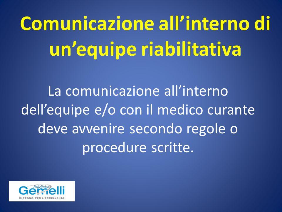 La comunicazione all'interno dell'equipe e/o con il medico curante deve avvenire secondo regole o procedure scritte. Comunicazione all'interno di un'e