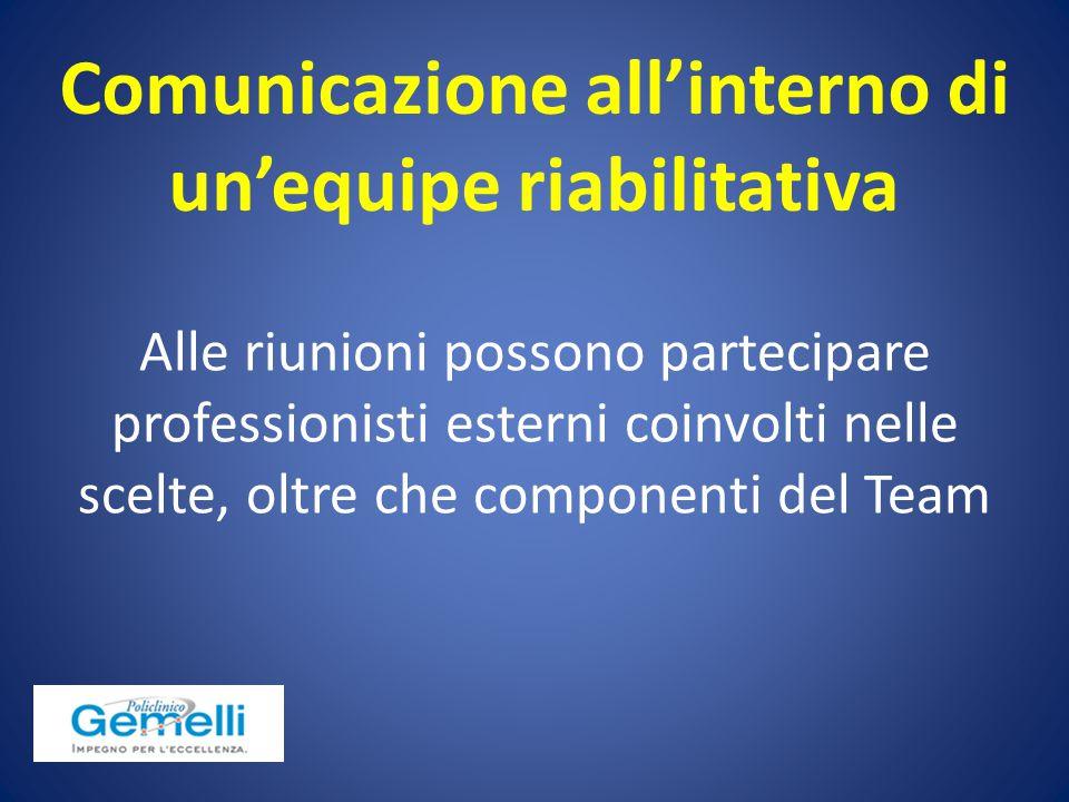 Alle riunioni possono partecipare professionisti esterni coinvolti nelle scelte, oltre che componenti del Team Comunicazione all'interno di un'equipe