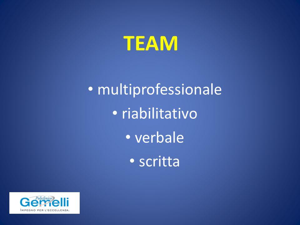 TEAM multiprofessionale riabilitativo verbale scritta