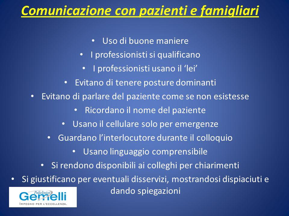 Comunicazione con pazienti e famigliari Uso di buone maniere I professionisti si qualificano I professionisti usano il 'lei' Evitano di tenere posture
