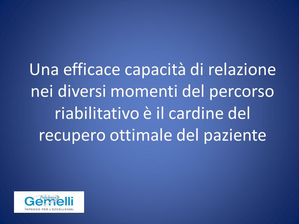 Una efficace capacità di relazione nei diversi momenti del percorso riabilitativo è il cardine del recupero ottimale del paziente
