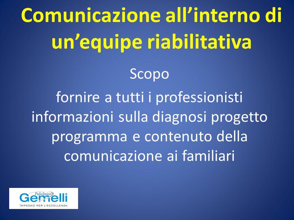 Scopo fornire a tutti i professionisti informazioni sulla diagnosi progetto programma e contenuto della comunicazione ai familiari Comunicazione all'i