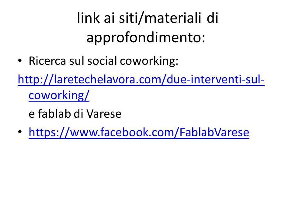 link ai siti/materiali di approfondimento: Ricerca sul social crowdfunding: http://laretechelavora.com/crowdfunding-la- nuova-mappatura-delle-piattaforme-ottobre- 2013/ http://laretechelavora.com/crowdfunding-la- nuova-mappatura-delle-piattaforme-ottobre- 2013/ e in particolare schoolraising http://progetti.schoolraising.it/
