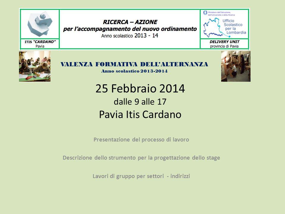 25 Febbraio 2014 dalle 9 alle 17 Pavia Itis Cardano Presentazione del processo di lavoro Descrizione dello strumento per la progettazione dello stage Lavori di gruppo per settori - indirizzi VALENZA FORMATIVA DELL'ALTERNANZA Anno scolastico 2013-2014