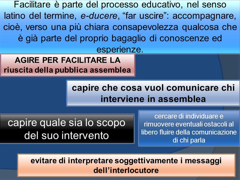 """Facilitare è parte del processo educativo, nel senso latino del termine, e-ducere, """"far uscire"""": accompagnare, cioè, verso una più chiara consapevolez"""