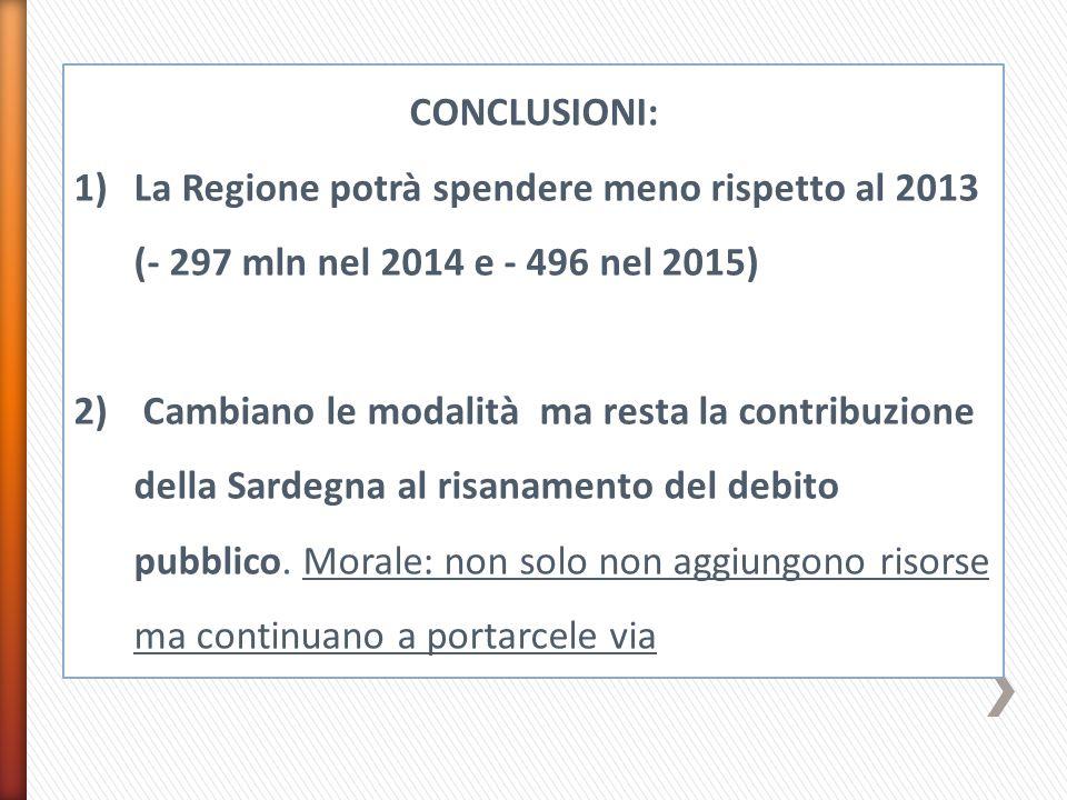CONCLUSIONI: 1)La Regione potrà spendere meno rispetto al 2013 (- 297 mln nel 2014 e - 496 nel 2015) 2) Cambiano le modalità ma resta la contribuzione della Sardegna al risanamento del debito pubblico.