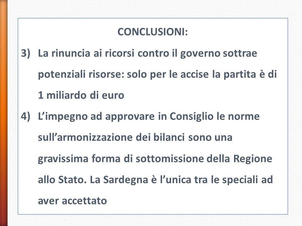 CONCLUSIONI: 3)La rinuncia ai ricorsi contro il governo sottrae potenziali risorse: solo per le accise la partita è di 1 miliardo di euro 4)L'impegno