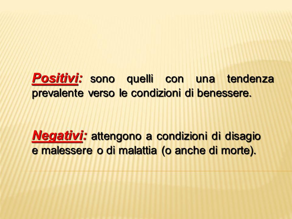 Positivi: sono quelli con una tendenza prevalente verso le condizioni di benessere. Negativi: attengono a condizioni di disagio e malessere o di malat