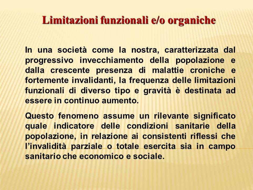 Limitazioni funzionali e/o organiche In una società come la nostra, caratterizzata dal progressivo invecchiamento della popolazione e dalla crescente