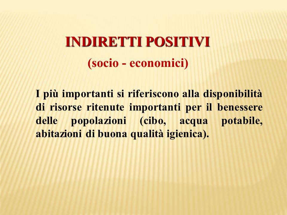INDIRETTI POSITIVI (socio - economici) I più importanti si riferiscono alla disponibilità di risorse ritenute importanti per il benessere delle popola