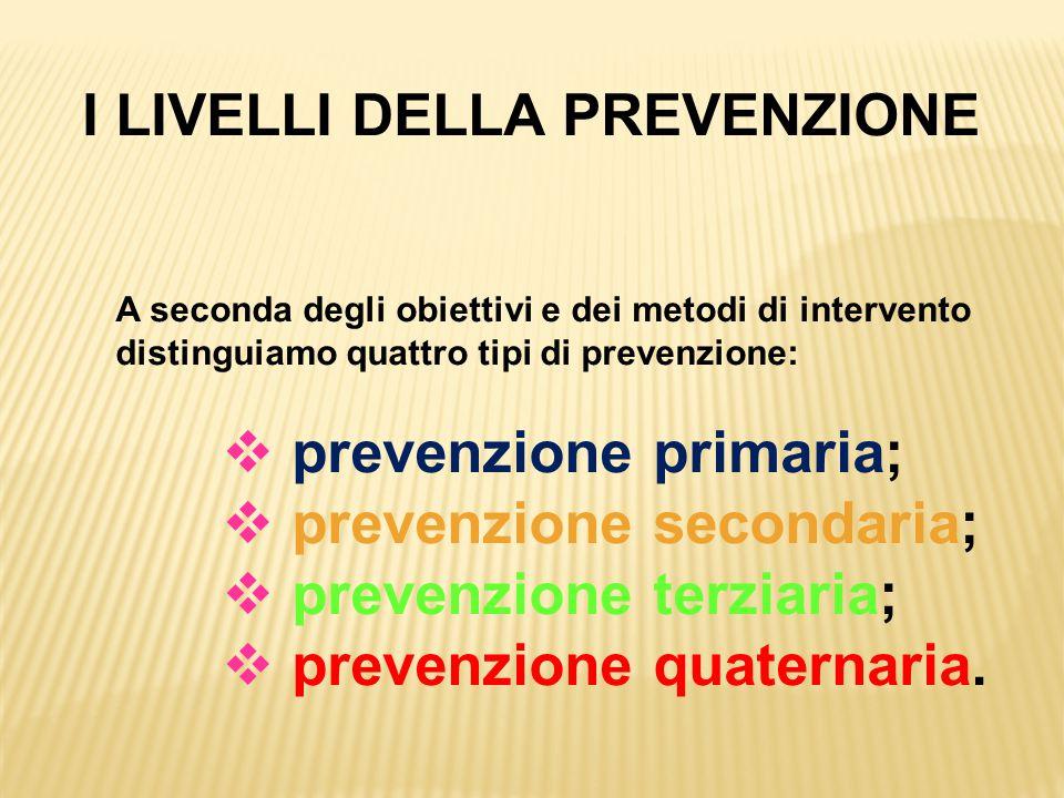 I LIVELLI DELLA PREVENZIONE A seconda degli obiettivi e dei metodi di intervento distinguiamo quattro tipi di prevenzione:  prevenzione primaria;  p