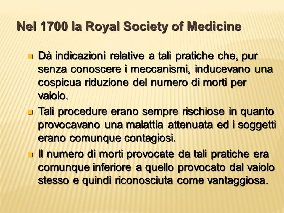 Nel 1700 la Royal Society of Medicine Dà indicazioni relative a tali pratiche che, pur senza conoscere i meccanismi, inducevano una cospicua riduzione