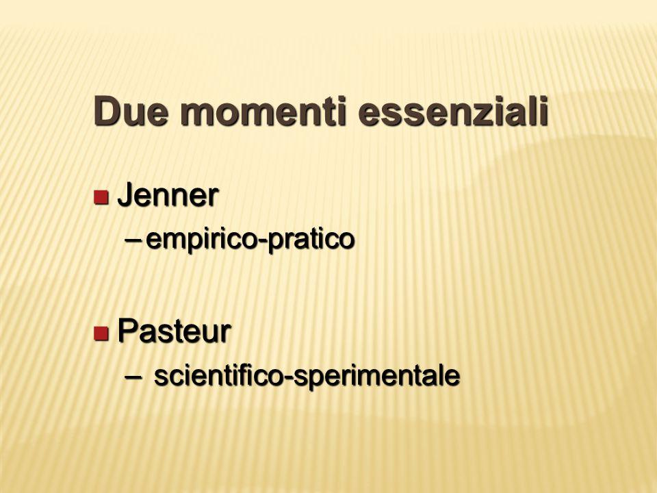 Due momenti essenziali Jenner Jenner –empirico-pratico Pasteur Pasteur – scientifico-sperimentale