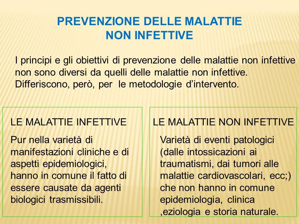 PREVENZIONE DELLE MALATTIE NON INFETTIVE I principi e gli obiettivi di prevenzione delle malattie non infettive non sono diversi da quelli delle malat