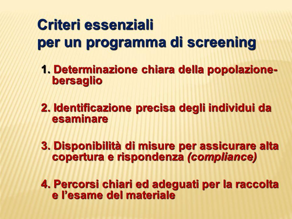 Criteri essenziali per un programma di screening 1. Determinazione chiara della popolazione- bersaglio 2. Identificazione precisa degli individui da e