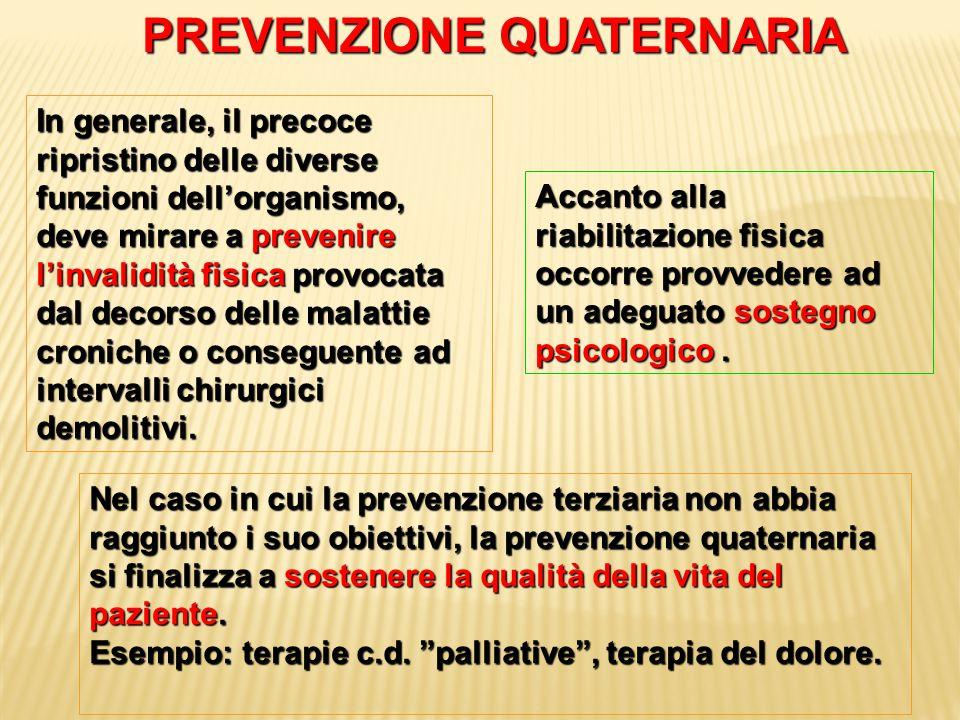 PREVENZIONE QUATERNARIA In generale, il precoce ripristino delle diverse funzioni dell'organismo, deve mirare a prevenire l'invalidità fisica provocat