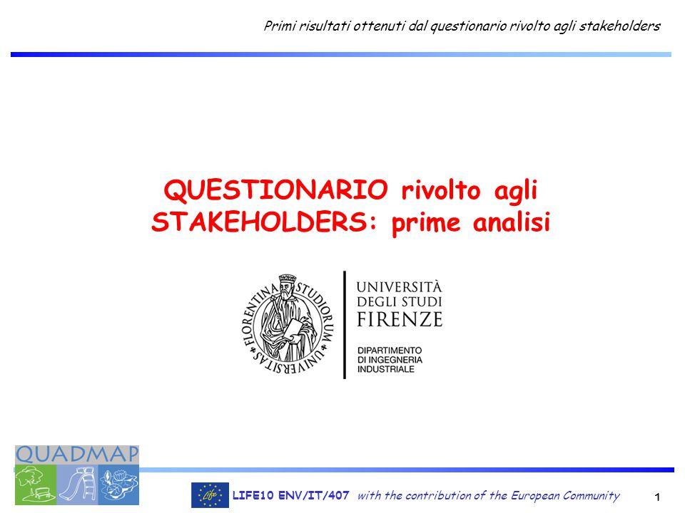 1 LIFE10 ENV/IT/407 with the contribution of the European Community Primi risultati ottenuti dal questionario rivolto agli stakeholders QUESTIONARIO rivolto agli STAKEHOLDERS: prime analisi