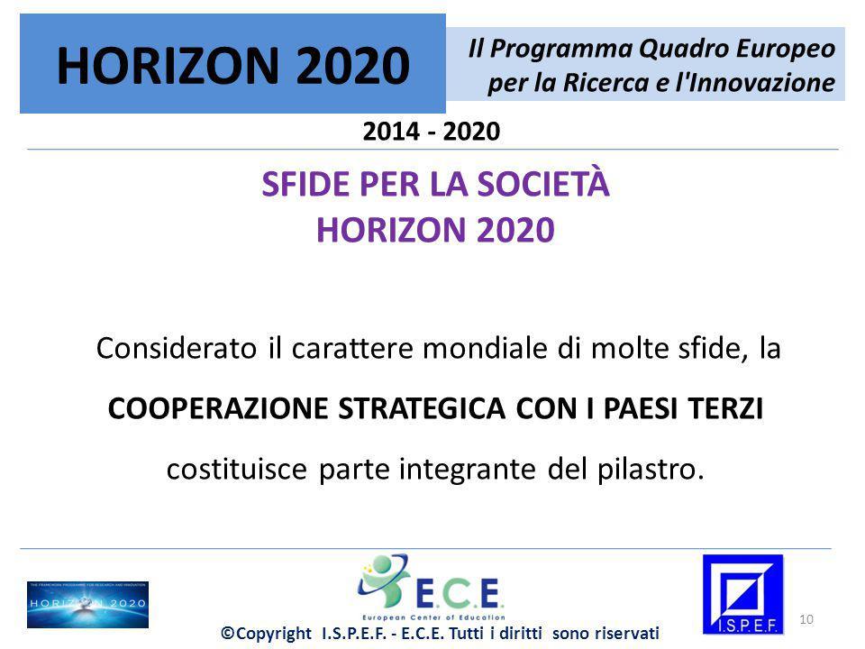 2014 - 2020 SFIDE PER LA SOCIETÀ HORIZON 2020 Considerato il carattere mondiale di molte sfide, la COOPERAZIONE STRATEGICA CON I PAESI TERZI costituis