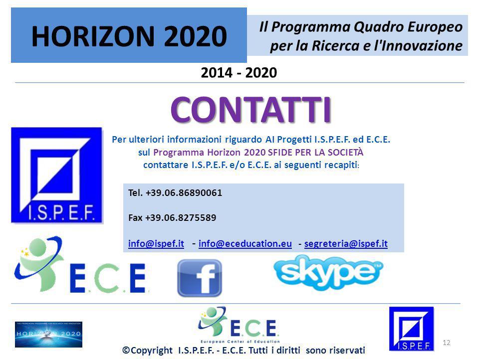 2014 - 2020 Il Programma Quadro Europeo per la Ricerca e l'Innovazione HORIZON 2020 12 CONTATTI Per ulteriori informazioni riguardo AI Progetti I.S.P.