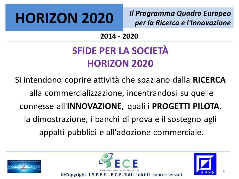 2014 - 2020 SFIDE PER LA SOCIETÀ HORIZON 2020 Si intendono coprire attività che spaziano dalla RICERCA alla commercializzazione, incentrandosi su quel