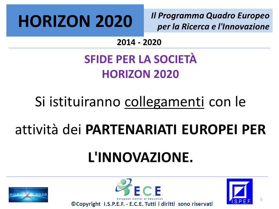 2014 - 2020 SFIDE PER LA SOCIETÀ HORIZON 2020 Si istituiranno collegamenti con le attività dei PARTENARIATI EUROPEI PER L'INNOVAZIONE. Il Programma Qu