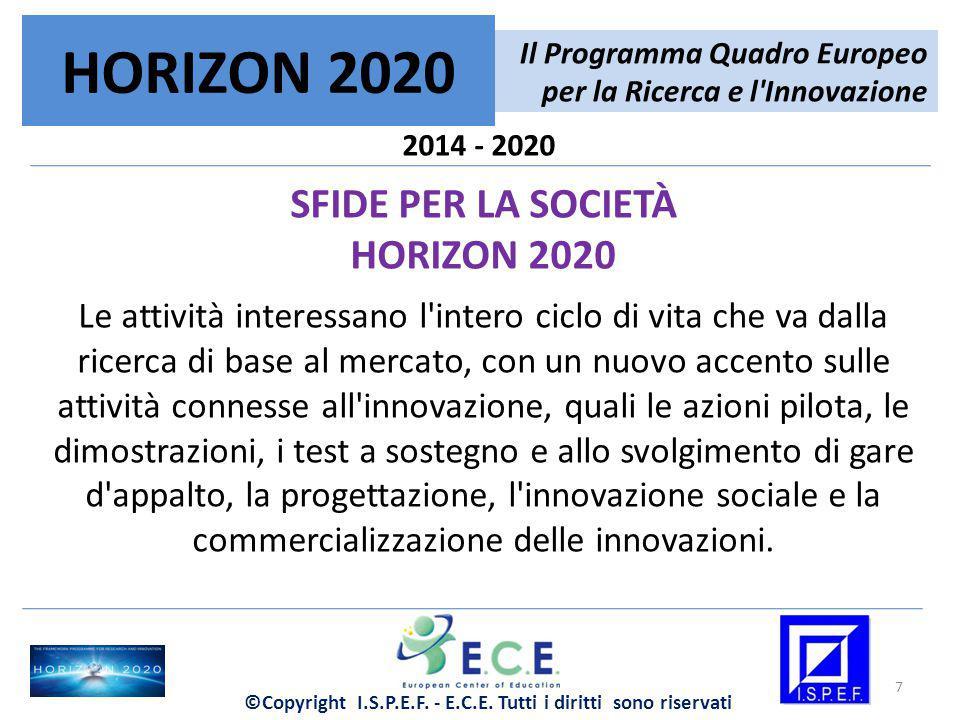 2014 - 2020 SFIDE PER LA SOCIETÀ HORIZON 2020 Le attività interessano l'intero ciclo di vita che va dalla ricerca di base al mercato, con un nuovo acc