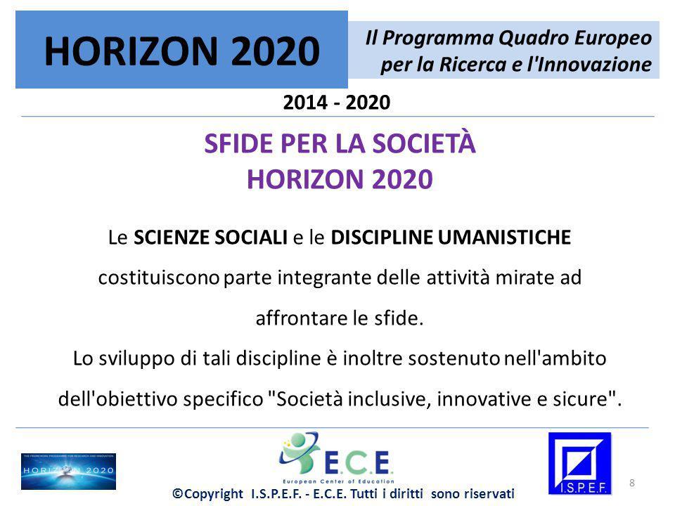 2014 - 2020 SFIDE PER LA SOCIETÀ HORIZON 2020 Il sostegno verte inoltre sulla costituzione di una robusta BASE DI CONOSCENZE per le decisioni politiche a livello internazionale, europeo, nazionale e regionale.
