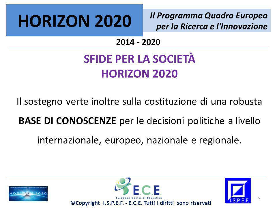2014 - 2020 SFIDE PER LA SOCIETÀ HORIZON 2020 Il sostegno verte inoltre sulla costituzione di una robusta BASE DI CONOSCENZE per le decisioni politich