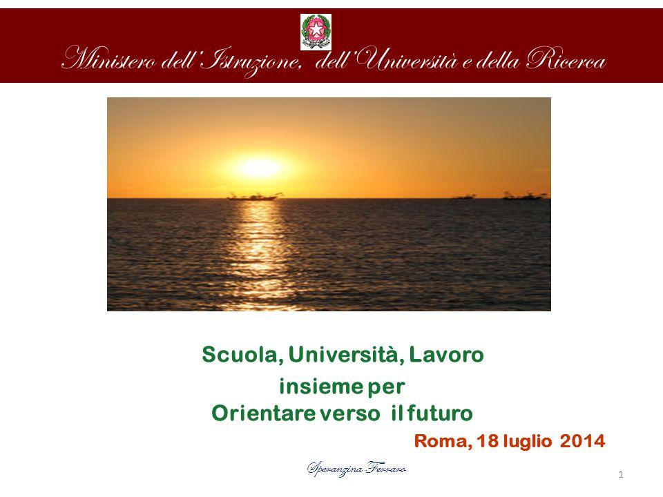 Ministero dell'Istruzione, dell'Università e della Ricerca Speranzina Ferraro Scuola, Università, Lavoro insieme per Orientare verso il futuro Roma, 18 luglio 2014 1