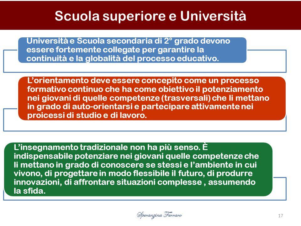 Università e Scuola secondaria di 2° grado devono essere fortemente collegate per garantire la continuità e la globalità del processo educativo.