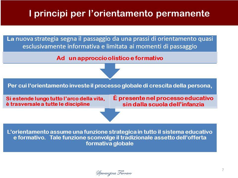 L'orientamento assume una funzione strategica in tutto il sistema educativo e formativo.