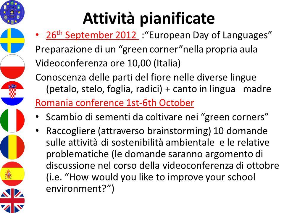 """Attività pianificate 26 th September 2012 :""""European Day of Languages"""" Preparazione di un """"green corner""""nella propria aula Videoconferenza ore 10,00 ("""