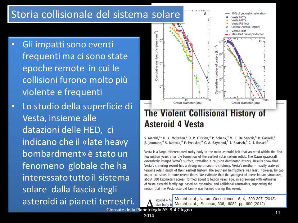 Giornate della Planetologia ASI 3-4 Giugno 2014 11 Storia collisionale del sistema solare Marchi et al., Nature Geoscience, 6, 4, 303-307 (2013).