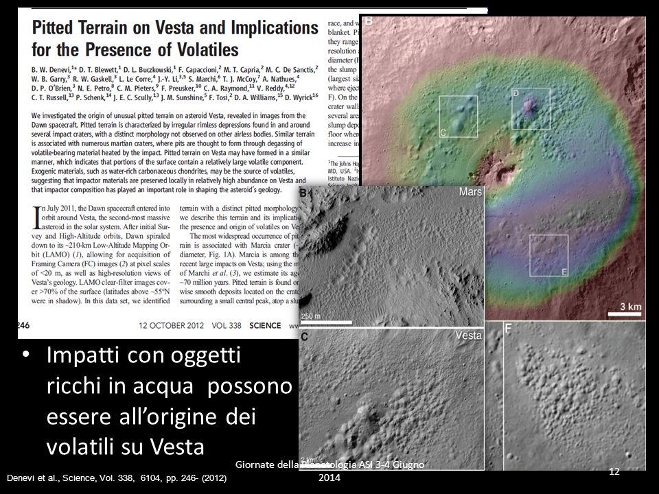 Impatti con oggetti ricchi in acqua possono essere all'origine dei volatili su Vesta Giornate della Planetologia ASI 3-4 Giugno 2014 12 Denevi et al., Science, Vol.