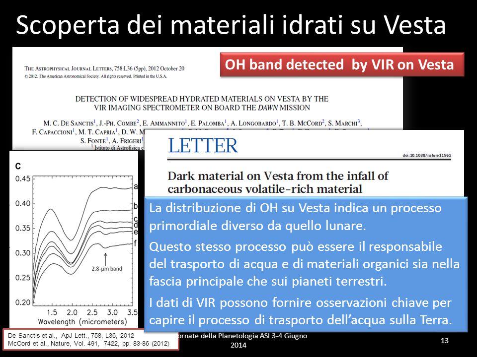 OH band detected by VIR on Vesta 13 Scoperta dei materiali idrati su Vesta De Sanctis et al., ApJ Lett., 758, L36, 2012 McCord et al., Nature, Vol.