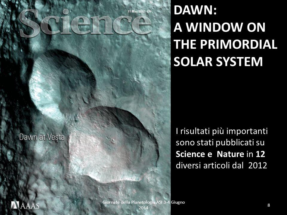 DAWN: A WINDOW ON THE PRIMORDIAL SOLAR SYSTEM I risultati più importanti sono stati pubblicati su Science e Nature in 12 diversi articoli dal 2012 Giornate della Planetologia ASI 3-4 Giugno 2014 8