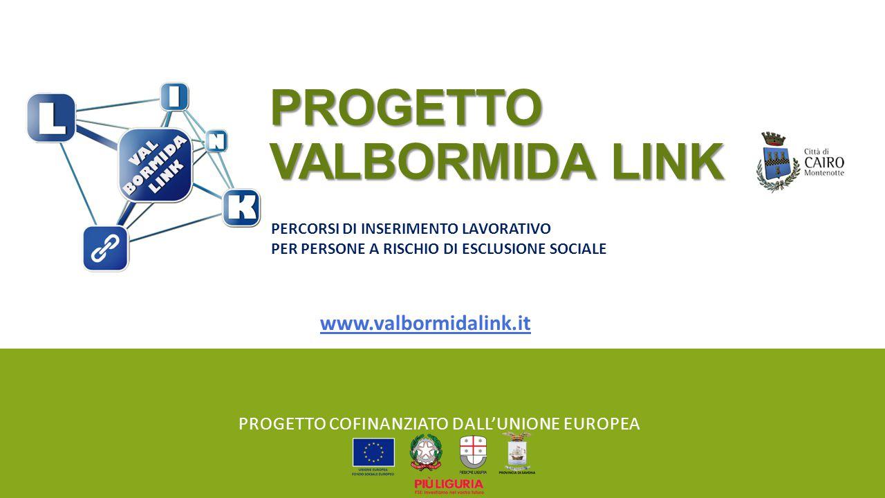 PROGETTO VALBORMIDA LINK PROGETTO COFINANZIATO DALL'UNIONE EUROPEA PERCORSI DI INSERIMENTO LAVORATIVO PER PERSONE A RISCHIO DI ESCLUSIONE SOCIALE www.