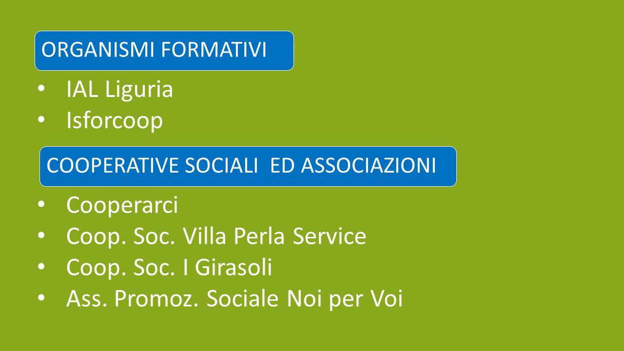 ORGANISMI FORMATIVI IAL Liguria Isforcoop COOPERATIVE SOCIALI ED ASSOCIAZIONI Cooperarci Coop. Soc. Villa Perla Service Coop. Soc. I Girasoli Ass. Pro