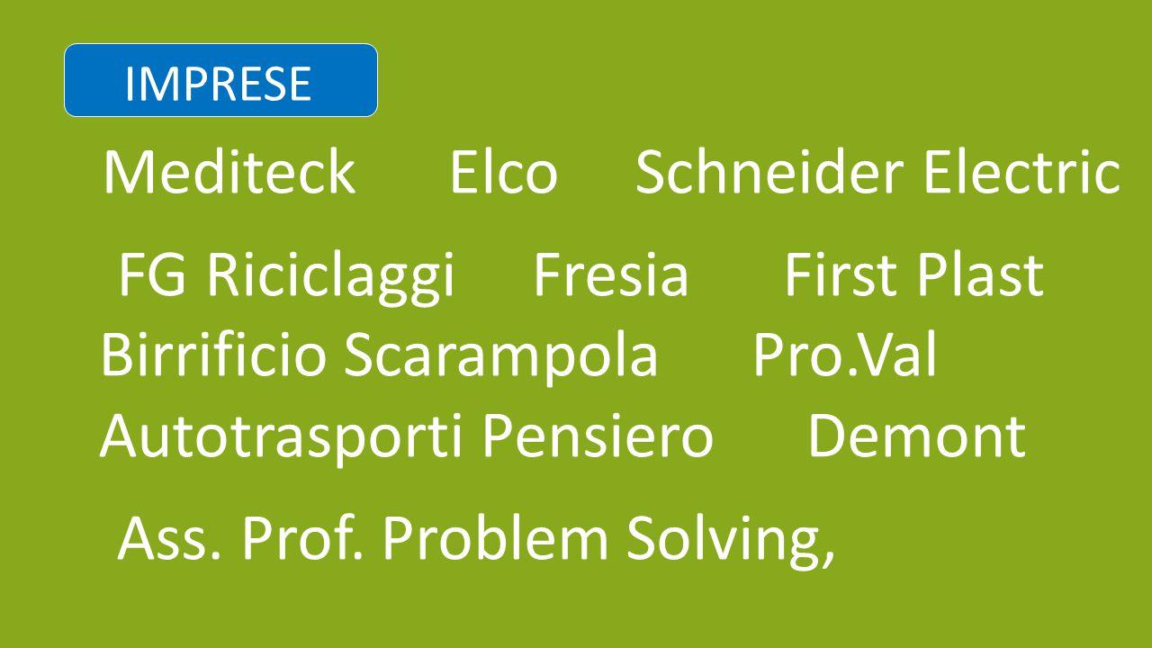 ▪ Mediteck Elco Schneider Electric ▪ FG Riciclaggi Fresia First Plast Birrificio Scarampola Pro.Val Autotrasporti Pensiero Demont ▪ Ass. Prof. Problem