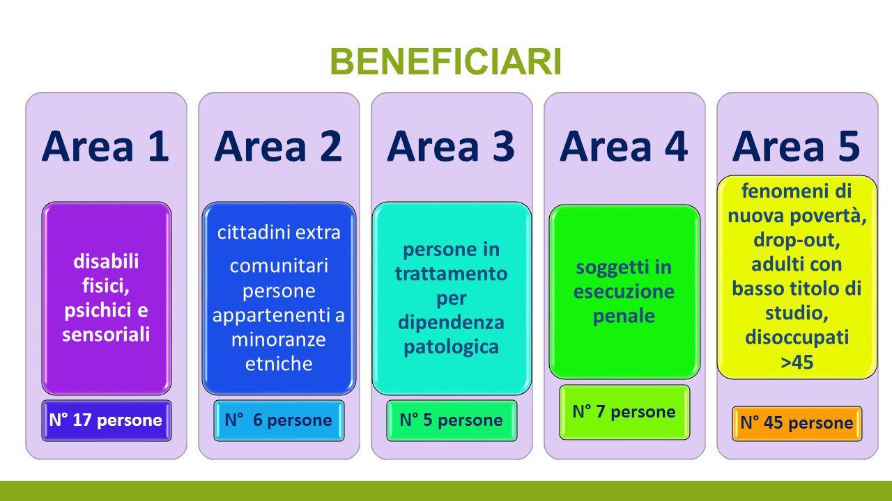 BENEFICIARI Area 1 disabili fisici, psichici e sensoriali N° 17 persone Area 2 cittadini extra comunitari persone appartenenti a minoranze etniche N°