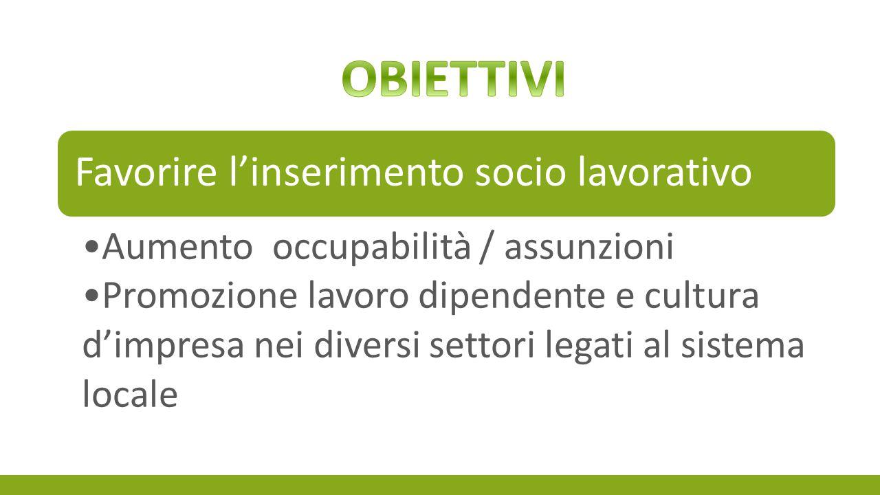 Favorire l'inserimento socio lavorativo Aumento occupabilità / assunzioni Promozione lavoro dipendente e cultura d'impresa nei diversi settori legati