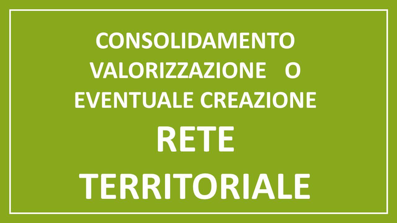 CONSOLIDAMENTO VALORIZZAZIONE O EVENTUALE CREAZIONE RETE TERRITORIALE