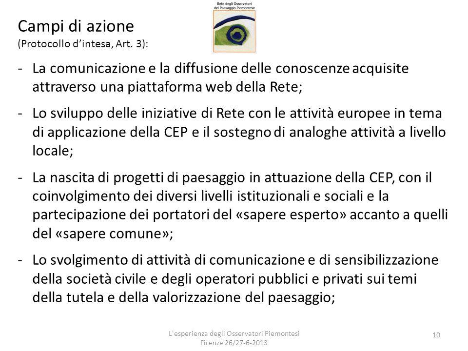 Campi di azione (Protocollo d'intesa, Art. 3): -La comunicazione e la diffusione delle conoscenze acquisite attraverso una piattaforma web della Rete;