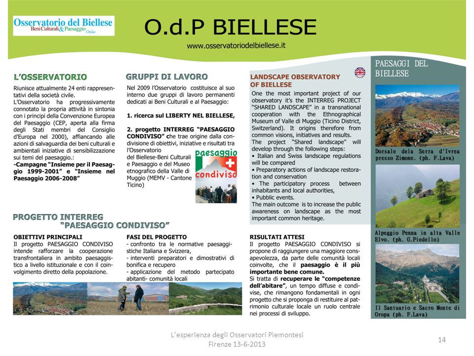 L'esperienza degli Osservatori Piemontesi Firenze 13-6-2013 14