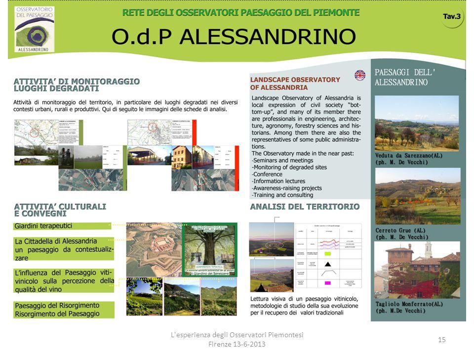 L'esperienza degli Osservatori Piemontesi Firenze 13-6-2013 15