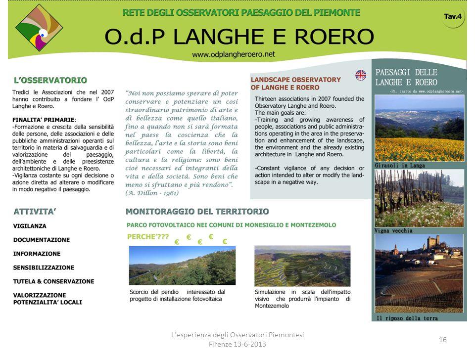 L'esperienza degli Osservatori Piemontesi Firenze 13-6-2013 16