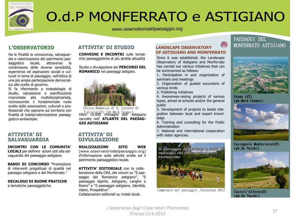 L'esperienza degli Osservatori Piemontesi Firenze 13-6-2013 17