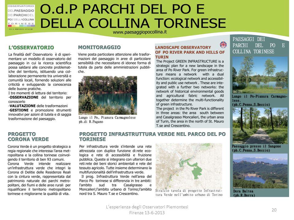L'esperienza degli Osservatori Piemontesi Firenze 13-6-2013 20