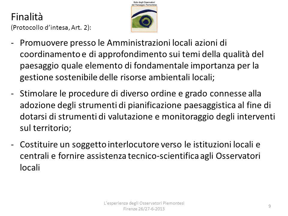 Finalità (Protocollo d'intesa, Art. 2): -Promuovere presso le Amministrazioni locali azioni di coordinamento e di approfondimento sui temi della quali